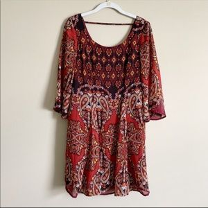 CHARLOTTE RUSSE / orange & black paisley dress / S